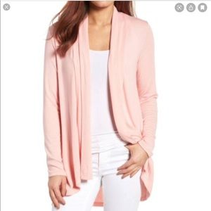 Bobeau Pink Open Cardigan Sweater